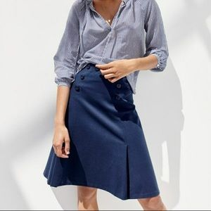 J Crew Sailor Button Navy Blue Skirt Ponte 12